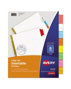AVE11123 INSERTABLE BIG TAB DIVIDERS, 8-TAB, LETTER