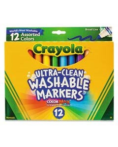 CYO587812 ULTRA-CLEAN WASHABLE MARKERS, BROAD BULLET TIP, ASSORTED COLORS, DOZEN