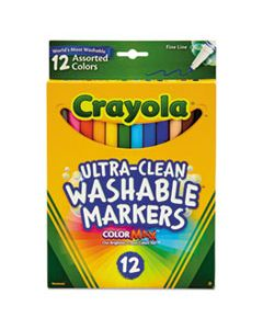 CYO587813 ULTRA-CLEAN WASHABLE MARKERS, FINE BULLET TIP, ASSORTED COLORS, DOZEN