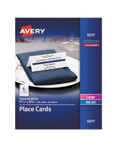 AVE5011 SMALL TEXTURED TENT CARDS, WHITE, 1 7/16 X 3 3/4, 6 CARDS/SHEET, 150/BOX