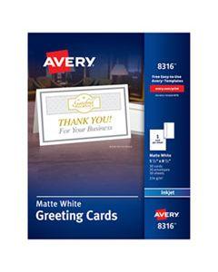AVE8316 HALF-FOLD GREETING CARDS, INKJET, 5 1/2 X 8 1/2, MATTE WHITE, 30/BOX W/ENVELOPES