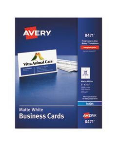 AVE8471 PRINTABLE MICROPERF BUSINESS CARDS, INKJET, 2 X 3 1/2, WHITE, MATTE, 1000/BOX