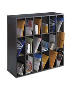 SAF7765BL WOOD MAIL SORTER WITH ADJUSTABLE DIVIDERS, STACKABLE, 18 COMPARTMENTS, BLACK
