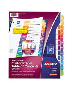 AVE11127 CUSTOMIZABLE TOC READY INDEX MULTICOLOR DIVIDERS, 12-TAB, LETTER