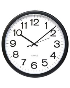 "UNV11641 ROUND WALL CLOCK, 13.5"" OVERALL DIAMETER, BLACK CASE, 1 AA (SOLD SEPARATELY)"