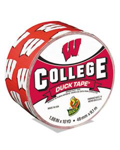 "DUC240287 COLLEGE DUCKTAPE, UNIVERSITY OF WISCONSIN BADGERS, 3"" CORE, 1.88"" X 10 YDS, CARDINAL/WHITE"