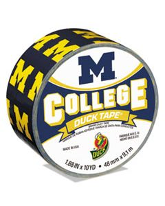 "DUC281600 COLLEGE DUCKTAPE, UNIVERSITY OF MICHIGAN WOLVERINES, 3"" CORE, 1.88"" X 10 YDS, BLUE/MAIZE"