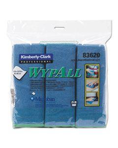 KCC83620 MICROFIBER CLOTHS, REUSABLE, 15 3/4 X 15 3/4, BLUE, 6/PACK