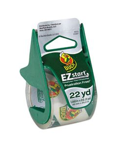 """DUC07307 EZ START PREMIUM PACKAGING TAPE WITH DISPENSER, 1.5"""" CORE, 1.88"""" X 22.2 YDS, CLEAR"""