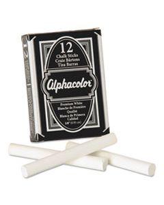 QRT314005 ALPHACOLOR WHITE CHALK, LOW-DUST, 12 STICKS/PACK