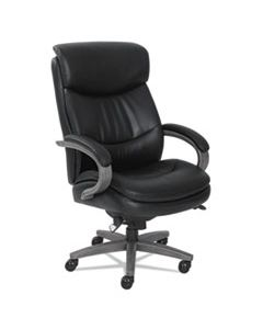 LZB48961A WOODBURY BIG AND TALL EXECUTIVE CHAIR, SUPPORTS UP TO 400 LBS., BLACK SEAT/BLACK BACK, WEATHERED GRAY BASE