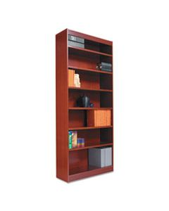 "ALEBCS67236MC SQUARE CORNER WOOD BOOKCASE, SIX-SHELF, 35.63""W X 11.81""D X 71.73""H, MEDIUM CHERRY"