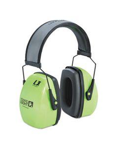 HOW1013941 L3HV HI-VISIBILITY EARMUFFS, REFLECTIVE HEADBAND, 30NRR, GREEN/BLACK