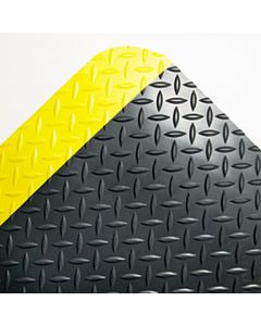 CWNCD0023YB INDUSTRIAL DECK PLATE ANTI-FATIGUE MAT, VINYL, 24 X 36, BLACK/YELLOW BORDER