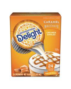 ITD101766 FLAVORED LIQUID NON-DAIRY COFFEE CREAMER, CARAMEL MACCHIATO, MINI CUPS, 24/BOX