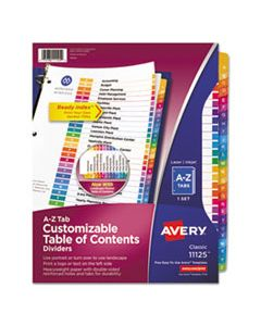 AVE11125 CUSTOMIZABLE TOC READY INDEX MULTICOLOR DIVIDERS, 26-TAB, LETTER