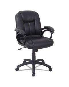 ALECC4219F ALERA CC SERIES EXECUTIVE MID-BACK LEATHER CHAIR, SUPPORTS UP TO 275 LBS., BLACK SEAT/BLACK BACK, BLACK BASE