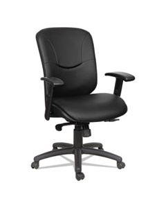 ALEEN4219 ALERA EON SERIES MID-BACK LEATHER SYNCHRO WITH SEAT SLIDE CHAIR, SUPPORTS UP TO 275 LBS., BLACK SEAT/BLACK BACK, BLACK BASE