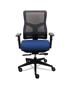 200 MESH-BACK MULTIFUNCTION CHAIR, SUPPORTS UP TO 250 LBS., NAVY SEAT/BLACK BACK, BLACK BASE