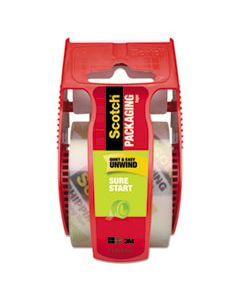 "MMM145 SURE START PACKAGING TAPE WITH DISPENSER, 1.5"" CORE, 1.88"" X 22.2 YDS, CLEAR"