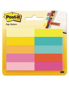 MMM67010AB PAGE FLAG MARKERS, ASSORTED BRIGHT COLORS, 50 SHEETS/PAD, 10 PADS/PACK