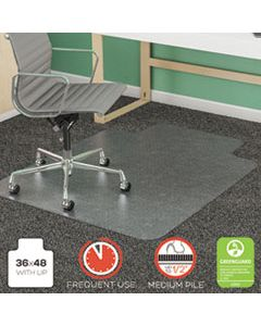 DEFCM14113COM SUPERMAT FREQUENT USE CHAIR MAT, MED PILE CARPET, ROLL, 36 X 48, LIPPED, CLEAR