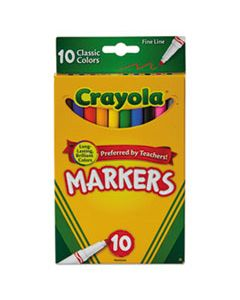 CYO587726 NON-WASHABLE MARKER, FINE BULLET TIP, ASSORTED COLORS, 10/PACK