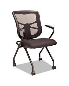 ALEEL4914 ALERA ELUSION MESH NESTING CHAIRS, PADDED ARMS, BLACK SEAT/BLACK BACK, BLACK BASE, 2/CARTON