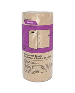 """CSDK251 SELECT KITCHEN ROLL TOWELS, 2-PLY, 11"""" X 166.6 FT, NATURAL, 250/ROLL, 12/CARTON"""
