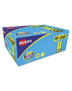 AVE98208 HI-LITER DESK-STYLE HIGHLIGHTERS, CHISEL TIP, FLUORESCENT YELLOW, 36/BOX