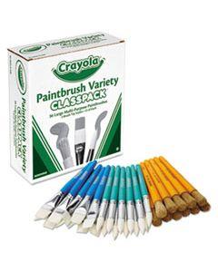 CYO050036 LARGE VARIETY PAINT BRUSH CLASSPACK, NATURAL BRISTLE/NYLON, FLAT/ROUND, 36/SET