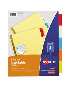 AVE11109 INSERTABLE BIG TAB DIVIDERS, 5-TAB, LETTER