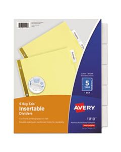 AVE11110 INSERTABLE BIG TAB DIVIDERS, 5-TAB, LETTER