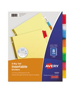 AVE11111 INSERTABLE BIG TAB DIVIDERS, 8-TAB, LETTER