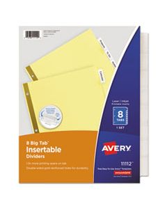 AVE11112 INSERTABLE BIG TAB DIVIDERS, 8-TAB, LETTER