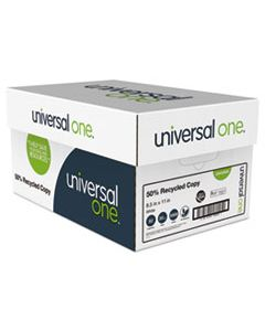 UNV20050 50% RECYCLED COPY PAPER, 92 BRIGHT, 20LB, 8.5 X 11, WHITE, 500 SHEETS/REAM, 10 REAMS/CARTON