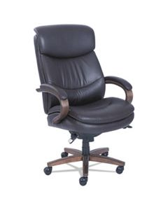 LZB48961B WOODBURY BIG AND TALL EXECUTIVE CHAIR, SUPPORTS UP TO 400 LBS., BROWN SEAT/BROWN BACK, WEATHERED SAND BASE