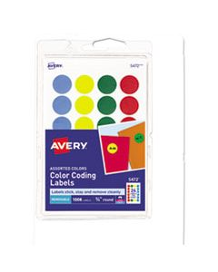 """AVE05472 PRINTABLE SELF-ADHESIVE REMOVABLE COLOR-CODING LABELS, 0.75"""" DIA., ASSORTED COLORS, 24/SHEET, 42 SHEETS/PACK"""
