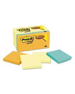 MMM654144B ORIGINAL PADS VALUE PACK, 3 X 3, CANARY YELLOW/CAPE TOWN, 100-SHEET, 18 PADS