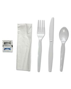 BWKFKTNSHWPSWH 6-PC. CUTLERY KIT, CONDIMENT/FORK/KNIFE/NAPKIN/SPOON, HEAVYWEIGHT, WHITE, 250/CT
