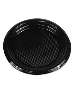 """BWKPLTHIPS6BL HI-IMPACT PLASTIC DINNERWARE, PLATE, 6"""" DIAMETER, BLACK, 1000/CARTON"""