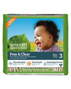 SEV44062PK FREE AND CLEAR BABY DIAPERS, SIZE 3, 16 LBS TO 24 LBS, 31/PACK