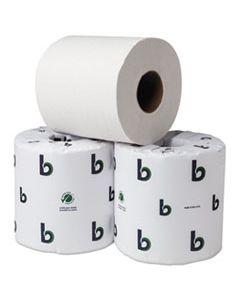 "BWK55GREEN BOARDWALK GREEN BATHROOM TISSUE, SEPTIC SAFE, 2-PLY, WHITE, 3.75"" X 4"", 500 SHEETS, 80/CARTON"