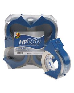 """DUC0007725 HP260 PACKAGING TAPE WITH DISPENSER, 3"""" CORE, 1.88"""" X 60 YDS, CLEAR, 4/PACK"""