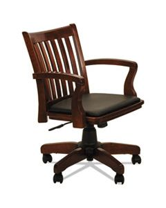 ALEPC4299C ALERA POSTAL SERIES SLAT-BACK WOOD/LEATHER CHAIR, SUPPORTS UP TO 275 LBS., CHERRY SEAT/BLACK BACK, CHERRY BASE
