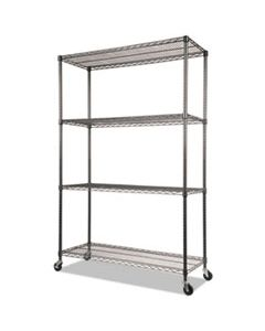 ALESW604818BA NSF CERTIFIED 4-SHELF WIRE SHELVING KIT WITH CASTERS, 48W X 18D X 72H, BLACK ANTHRACITE
