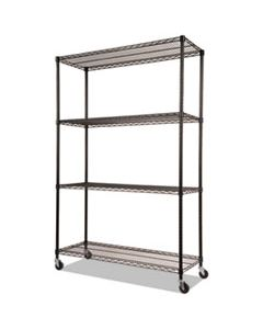 ALESW604818BL NSF CERTIFIED 4-SHELF WIRE SHELVING KIT WITH CASTERS, 48W X 18D X 72H, BLACK