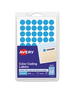 """AVE05050 HANDWRITE ONLY SELF-ADHESIVE REMOVABLE ROUND COLOR-CODING LABELS, 0.5"""" DIA., LIGHT BLUE, 60/SHEET, 14 SHEETS/PACK"""