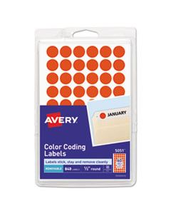 """AVE05051 HANDWRITE ONLY SELF-ADHESIVE REMOVABLE ROUND COLOR-CODING LABELS, 0.5"""" DIA., NEON RED, 60/SHEET, 14 SHEETS/PACK"""