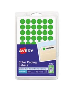 """AVE05052 HANDWRITE ONLY SELF-ADHESIVE REMOVABLE ROUND COLOR-CODING LABELS, 0.5"""" DIA., NEON GREEN, 60/SHEET, 14 SHEETS/PACK"""